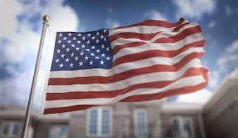 America USA Flag 3D Rendering on Blue Sky Building Background