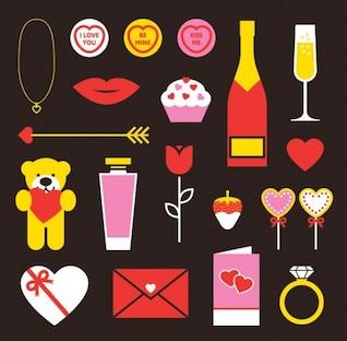Amor e coração ícones temáticos