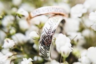 Anéis entre flores