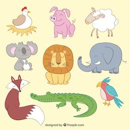 Animais bonitos no estilo de ilustração