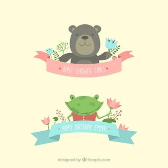 Animais bonitos para o convite do chá de fraldas