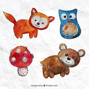Animais têxteis pintados à mão