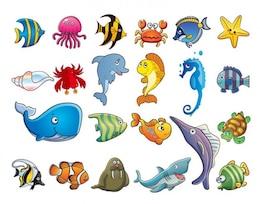 Animal marinho desenhos animados set - vetor EPS
