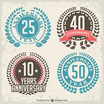 Emblemas aniversário de louro