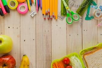 Antecedentes do lanche escolar e suprimentos
