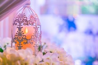 Antigo ouro flor luz vela