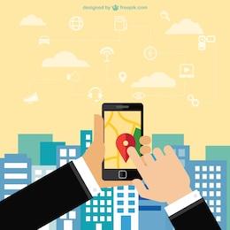 App de navegação do telefone móvel