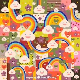 Arco-íris padrão kawaii