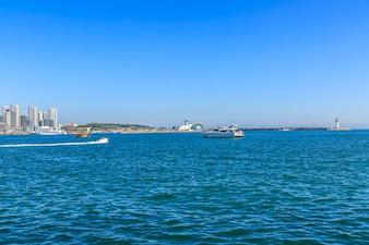 Arranha-céu, porto, negócio, água, vista, paisagem