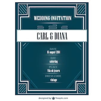 Art deco cartão de convite de casamento