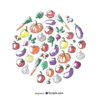 Arte legumes círculo rabisco