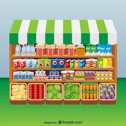 Arte vetor mercado de alimentos