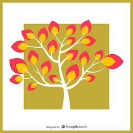árvore com folhas coloridas
