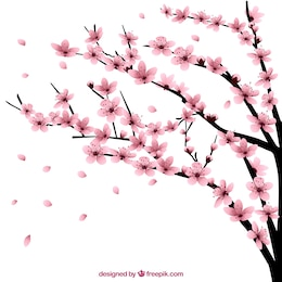 Árvore de cereja com flores
