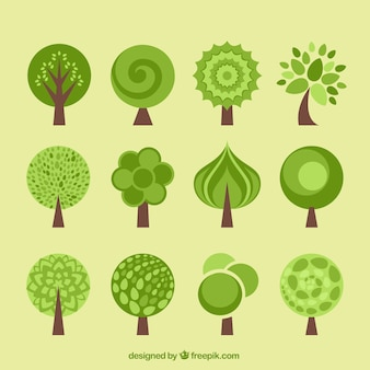 Árvore ícones coleção em estilo design plano