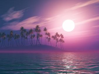 Árvores com fundo da lua