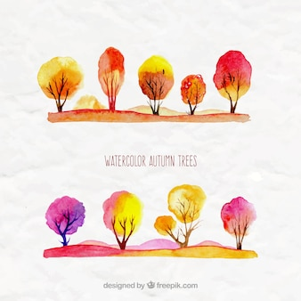 Árvores de outono da aguarela
