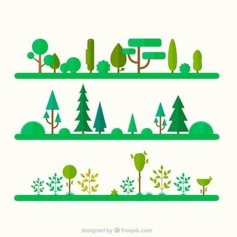 Árvores e ícones de jardim