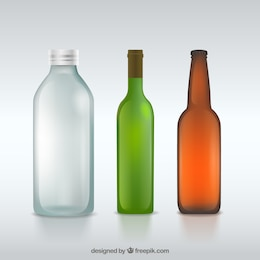 As garrafas de vidro