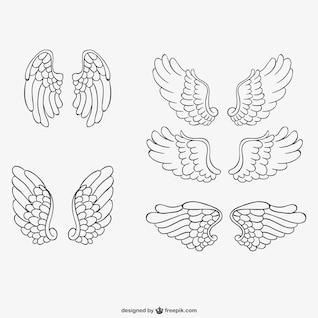 Asas de anjo vetores desenhados à mão