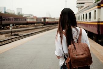 Asiático, mulher, turista