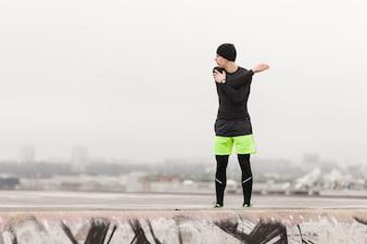 Atleta, esticar, cinzento, Dia