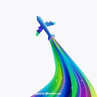 Avião colorido em estilo abstrato
