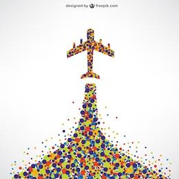 Avião feito de pontos coloridos