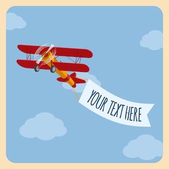 Avião leve com uma bandeira