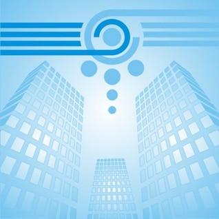 Azuis edifícios arranha-céus da cidade com linhas