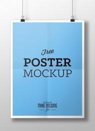 Azul cartaz maquete psd