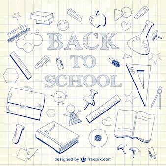 De volta à escola doodles fundo