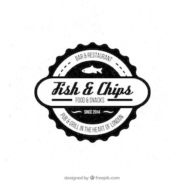 Badge of fish and chips restaurante
