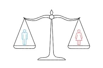 Balança com um homem e uma mulher