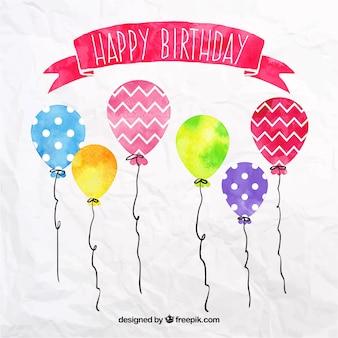 Balões de aniversário Aquarela