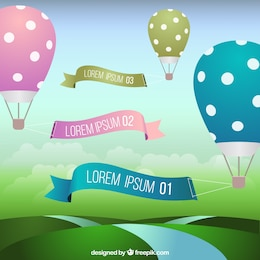 Balões de ar quente com banners