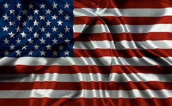 Bandeira americana com dobras e vincos