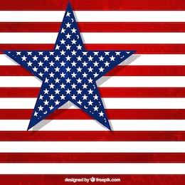Bandeira americana com grande estrela