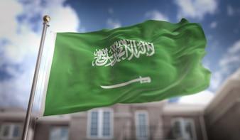 Bandeira da Arábia Saudita Representação 3D no fundo do edifício do céu azul