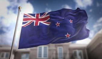 Bandeira da bandeira da Nova Zelândia Renderização 3D no fundo do edifício do céu azul