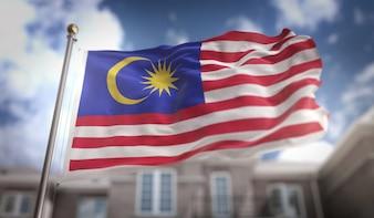 Bandeira da Malásia 3D Rendering no fundo do edifício do céu azul