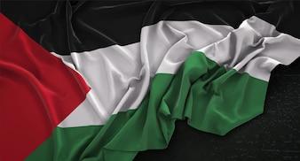 Bandeira da Palestina enrugada no fundo escuro 3D Render