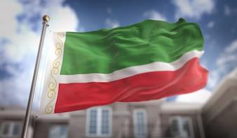Bandeira da república chechena Representação 3D no fundo do edifício do céu azul