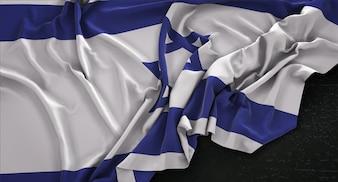 Bandeira de Israel enrugada no fundo escuro 3D Render