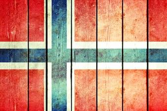 Bandeira de madeira em madeira de Noruega.