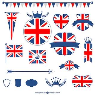 Bandeira de reino unido elementos gráficos gratuitos