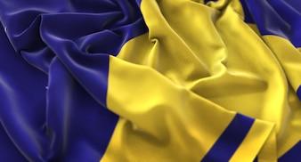 Bandeira de Tokelau Ruffled Beautifully Waving Macro Close-Up Shot