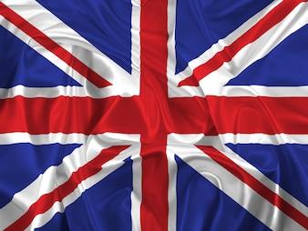 Bandeira de Union Jack com dobras e vincos