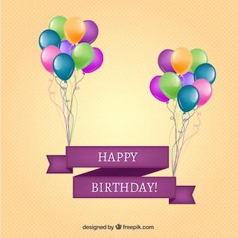 Bandeira do feliz aniversario com balões