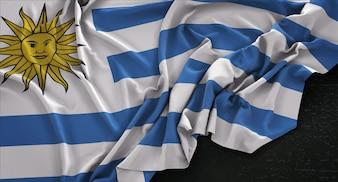 Bandeira do Uruguai enrugada no fundo escuro 3D Render